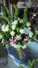 white roses,pink lilies ,bells of irleand& white hydrangeas