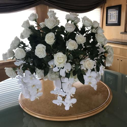 white chocolate roses & philanopsis orchids