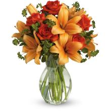 Fiery Lily and Rose by Teleflora