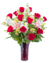 Red Lipstick Roses,lilies & stock in red vase